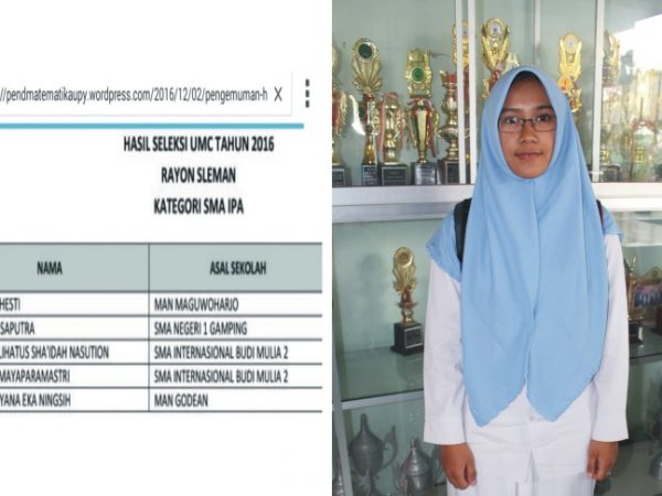 Yuyun Prahesti, Siswi MAN Maguwoharjo Juara Kompetisi Matematika