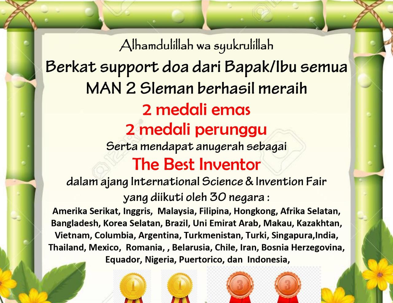 Tim Riset MAN 2 Sleman Borong Medali Emas dan Perunggu Di Ajang Internasional